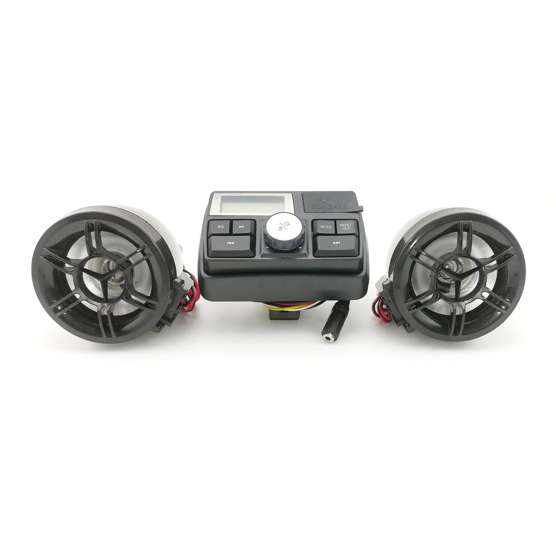 HANSWD Motorcycle Handlebar Speakers  FM Radio System & MP3 Player W/ U-disk & SD Card Reading Capability  Remote Control Anti-Theft Police Guard-Alarm (B)