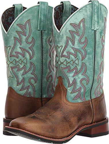 Laredo Women's Anita Brown/Blue Cowgirl Boot Square Toe Brown 7 - Toe Square Womens Boot
