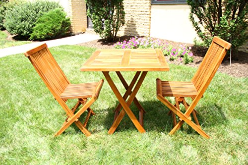 Ala Teak Wood Patio Outside Garden Yard Folding Table and 2 Chair Set Waterproof Teak Furniture Fully Assembled