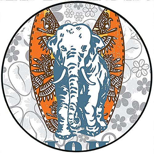Short Plush Round Rugs Surfboards and Elephant Floral Background Aloha Advertising Athlete Sport Bedroom/Living Room Kids Play 47.2