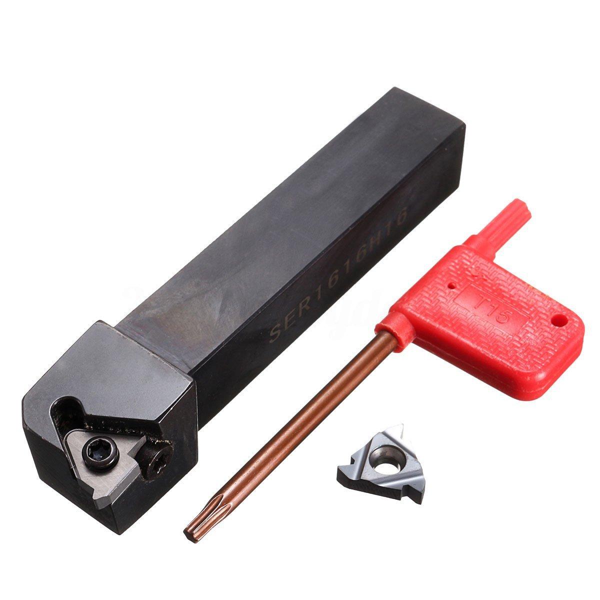 Cikuso 3pzs SER1616H16 Soporte Herramienta de roscado de torneado de torno 16ER AG60 Insercion de cuchilla