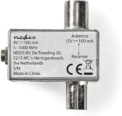 NEDIS Alimentador de Antenas Satélite Alimentador de Antenas Satélite | 5-1000 MHz | Pérdida de inserción: -2 dB | 75 Ohm | Zinc | Plata Plata 1.80 m