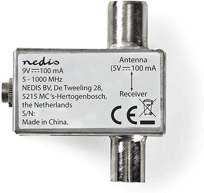 NEDIS Alimentador de Antenas Satélite Alimentador de Antenas Satélite   5-1000 MHz   Pérdida de inserción: -2 dB   75 Ohm   Zinc   Plata Plata 1.80 m