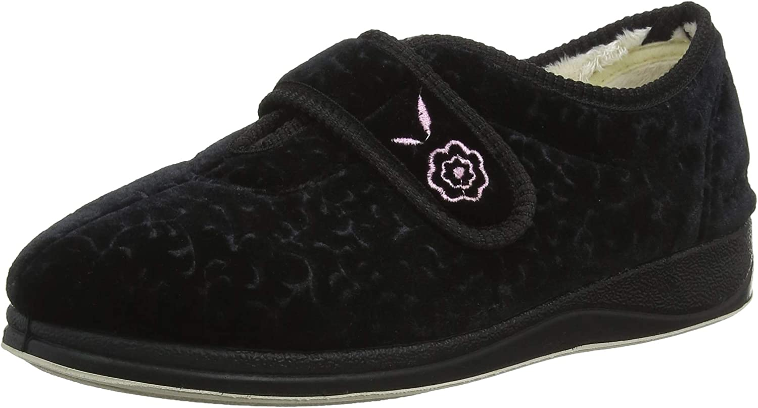 2E Womens CAMILLA Ladies Womens Microsuede Extra Wide Full Slippers Black