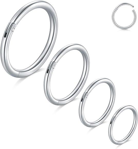 Modrsa 16g 8 14mm Cartilage Hoop Earring Hinged Seamless Septum