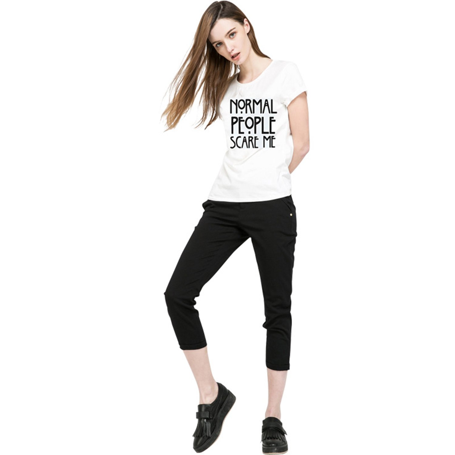 ZMvise Graphic Printed Letters Normal People Scare Me Women Girl T Shirt