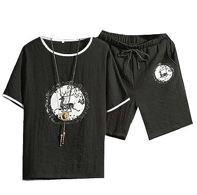 e574da34e9c Fly Year-uk Men Summer T-Shirt and Sport Shorts Jogging Tracksuits Outfits  Sets Black 3XL  Amazon.co.uk  Clothing