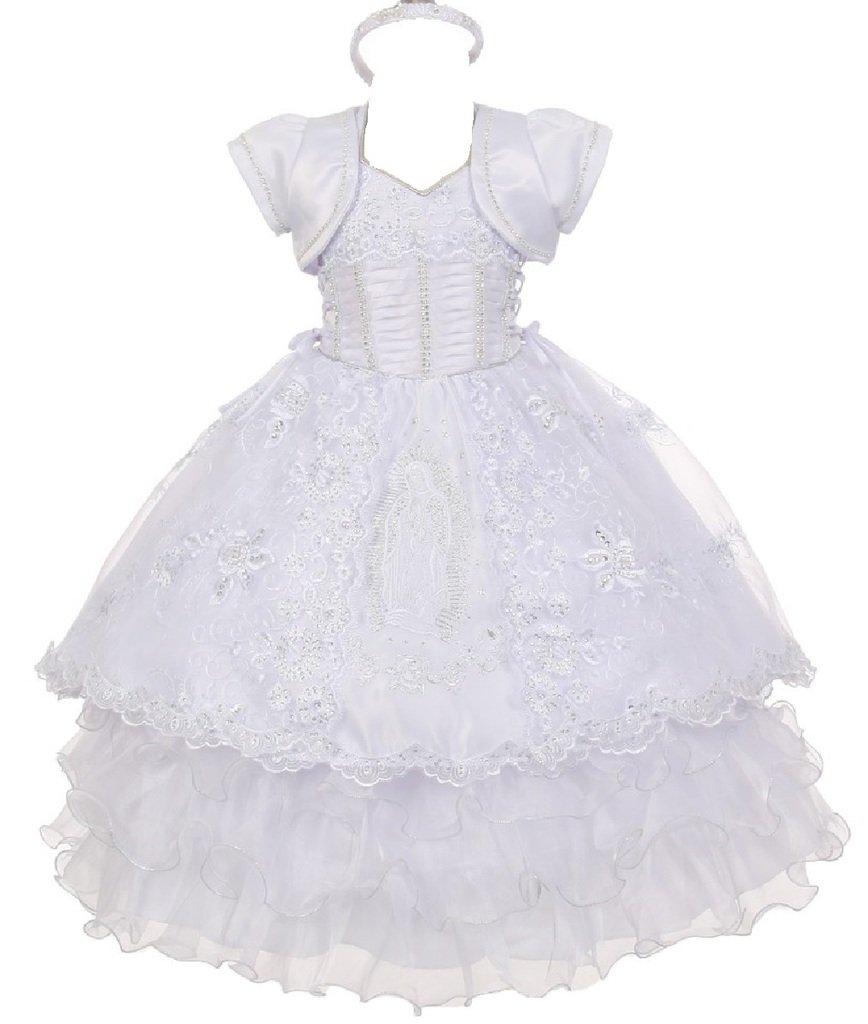 Little Baby Girls' Virgin Mary Ruffle Detachable Baptism Dresses White Size 3