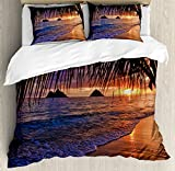 Hawaiian Decorations Duvet Cover Set King Size by Ambesonne, Pacific Sunrise at Lanikai Beach Hawaii Sandy Tropics Distant Hills Leaves Landmark, Decorative 3 Piece Bedding Set with 2 Pillow Shams