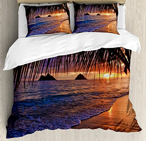 Hawaiian Kids Bedding (Hawaiian Decorations Duvet Cover Set King Size by Ambesonne, Pacific Sunrise at Lanikai Beach Hawaii Sandy Tropics Distant Hills Leaves Landmark, Decorative 3 Piece Bedding Set with 2 Pillow Shams)