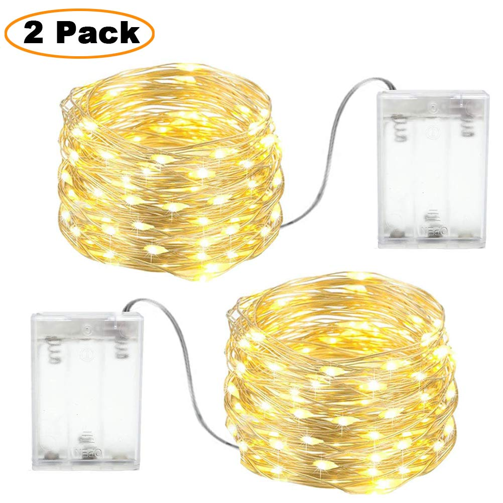 Fairy Lights Battery Powered Indoor, led Light Strings for Bedroom Warm White,Silver Wire 2 Packs 3m 30 LEDs Perfect for Christmas, Bedroom and Wedding Decoration etc. (3M 30LED)