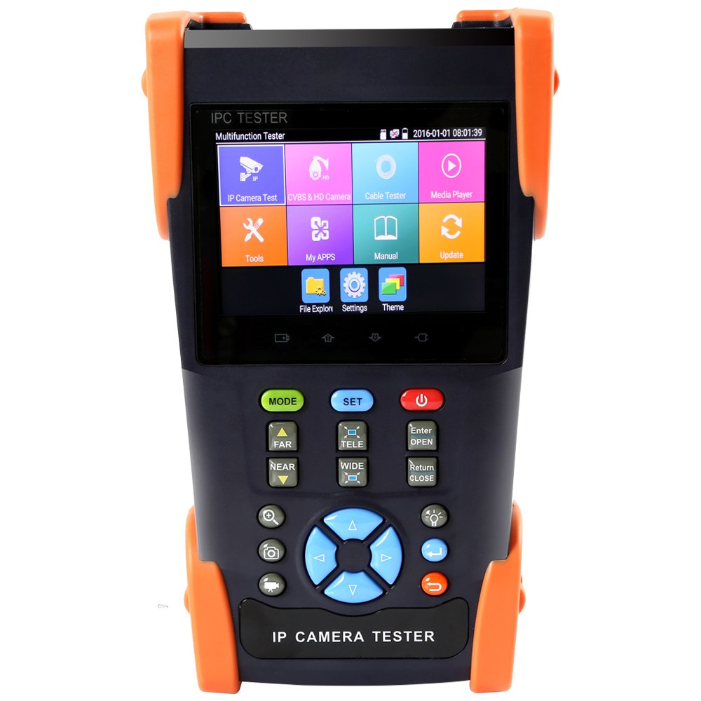 Electop 3.5 Inch IP Camera Tester Analog Camera Tester Handheld Security CCTV Tester with RJ45 TDR/POE/PTZ Control/IP Discovery/Rapid ONVIF/WIFI/8G TF Card/4K H.265/DC 12V 2A Output IPC 3500Plus