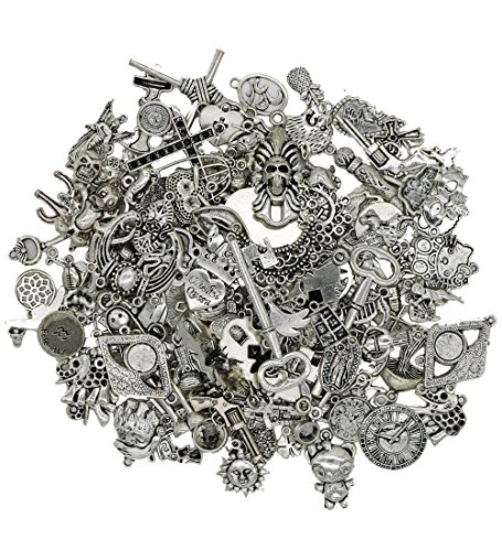 Vintage Button Bracelet (Wholesale Jewelry Making Silver Charms - EyreLife Bulk Tibetan Silver Mix Pendants, Charms, Buttons, Beads, Spacers and Jewelry Findings for Jewelry Making Bracelets, Necklaces (100Pcs, Assorted))