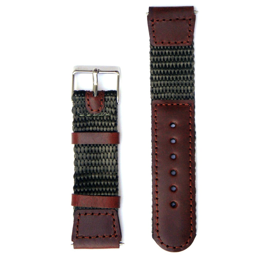 Nylon/leather Watch Band 19 Millimeters Fits Wenger - Brown/green