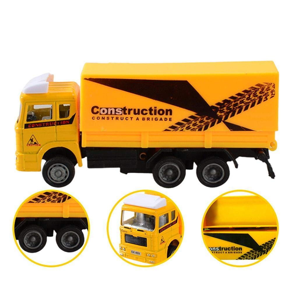 Qenci Mini Pull Back Simulation Construction Fire Engine Truck Model Children Toys Car