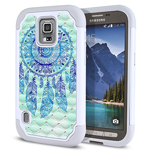 Samsung Galaxy S5 Active G870A Case, Fincibo (TM) Dual Layer Shock Proof Hybrid Hard Protector Cover Silicone Star Studded Rhinestone Bling, Teal Blue Dream Catcher