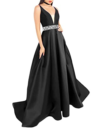 695ee88fa637 YSMei Women s Stain Light Long Dress Deep V-Neck Sleeveless Empire Dress  Sequined Sash US2