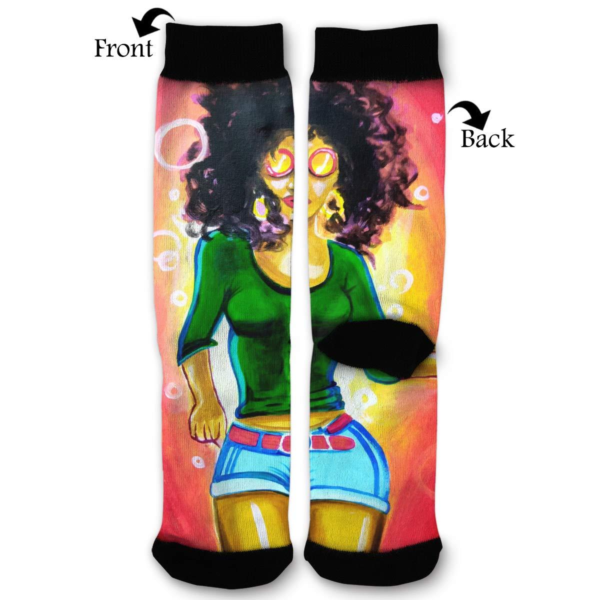 Primede Afro - Calcetines de Punto de Pantorrilla para Mujer ...