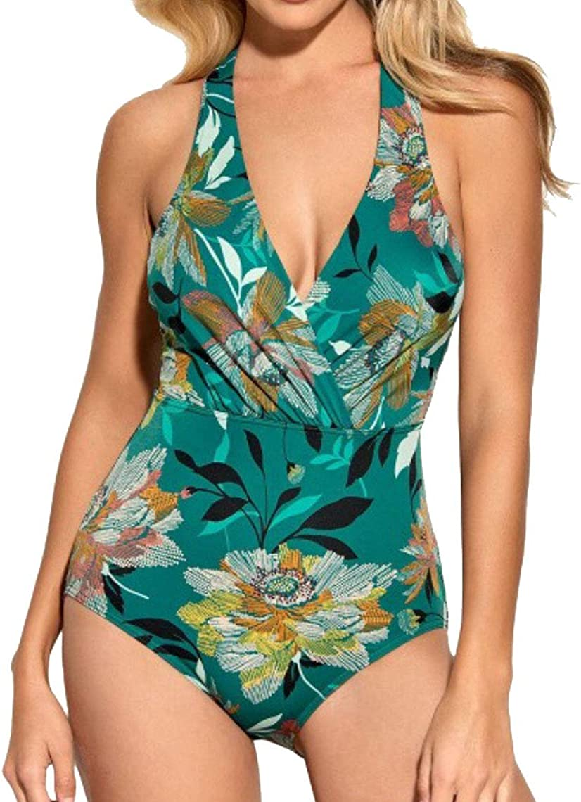 Miracle Brands Dreamsuit Women's Slimming Control Cross Back One Piece Swimsuit - Green Floral - 14