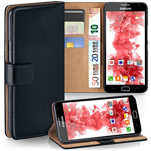 moex Samsung Galaxy Note | Phone Case with Wallet 360 Degree Book Phone Cover with Card Holder - Black (Samsung Galaxy Note Gt N7000 Flip Cover)