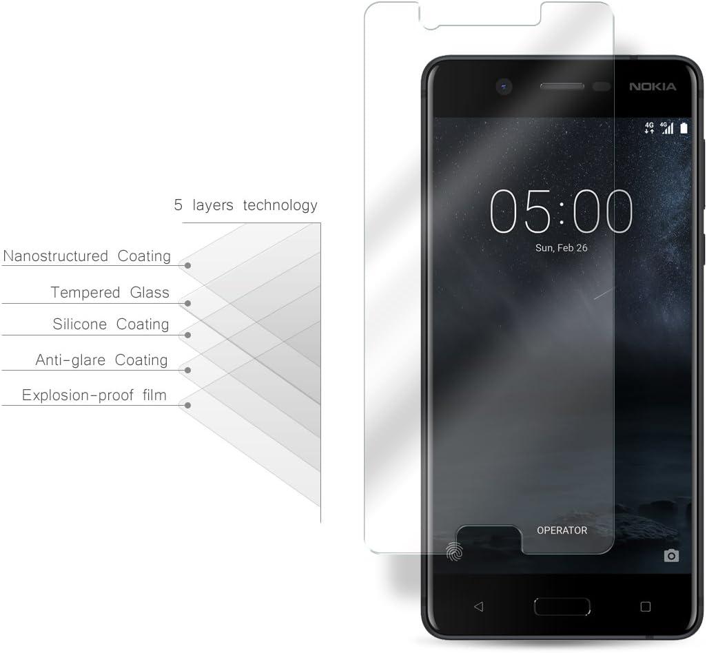 Nokia 5 Cristal Protector de pantalla, eProte® Vidrio Templado ...