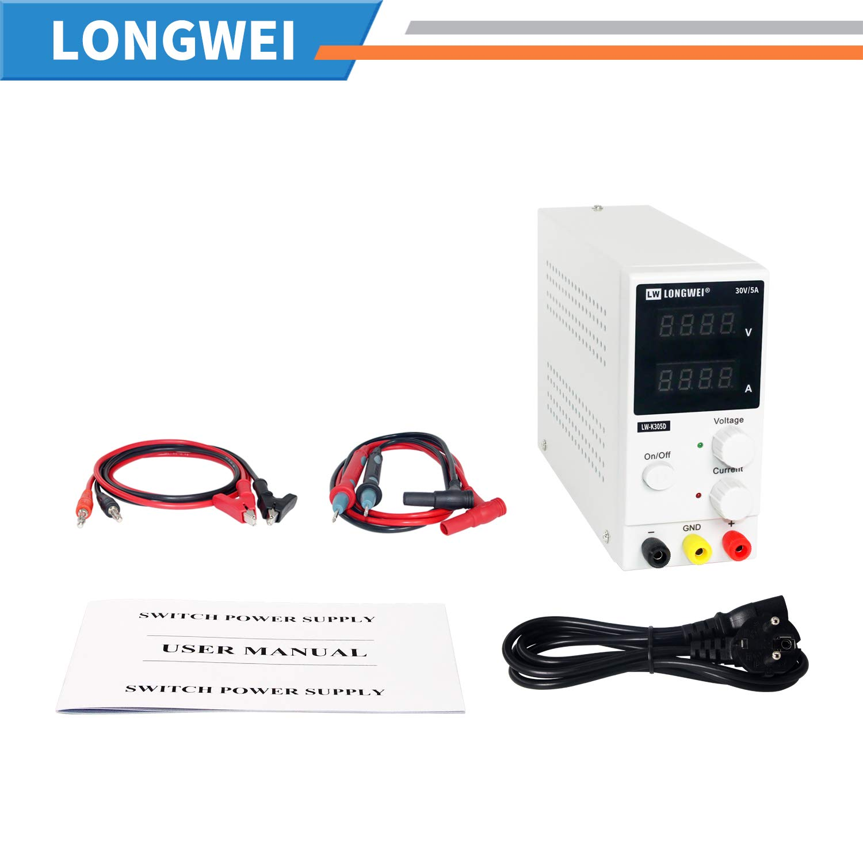 Alimentatore a commutazione stabilizzata Alimentatore da laboratorio,LONGWEI DC 0-30V//0-5A Protezione da sovraccarico e cortocircuito Display LED a 4 cifre regolabile