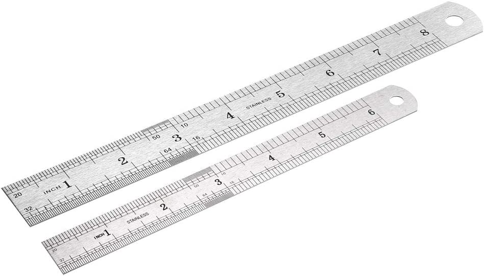 sourcing map Steel Rulers Ruler Inches and Centimeters Metal Ruler Drawing Ruler Measuring Ruler 8 inch Ruler 6 inch Ruler Rulers 6, 8, inch 2 Pieces
