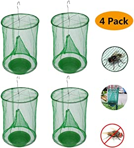 Ranch Fly Trap   Most Effective Trap Ever Made with Fishing Apparatus   Food Bait Flay Catcher for Outdoor, Family Farms (4)