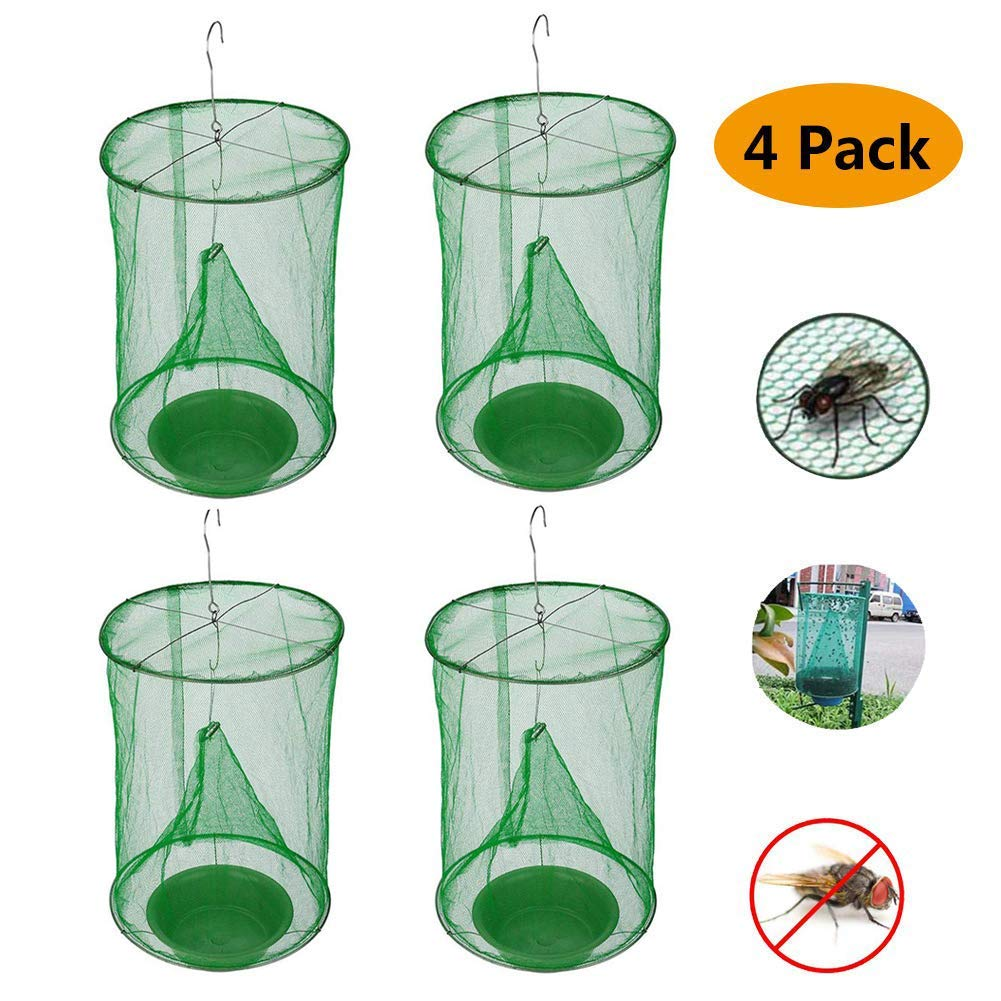 4 Pack Ranch Fly Trap   Most Effective Trap Ever Made with Fishing Apparatus   Food Bait Flay Catcher for Outdoor, Family Farms, Parks