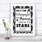 Black And White Damask Drink Champagne Dance Stars Personalized Wedding Sign