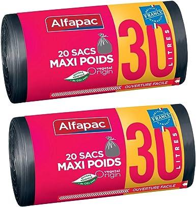 Alfapac - Bolsas de basura biodegradables, maxi, 2 rollos de 20 ...
