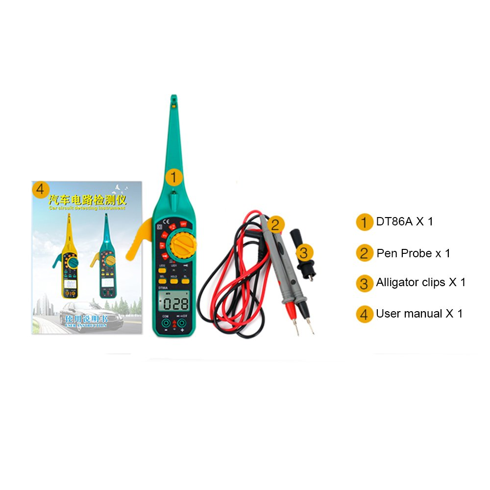 Automotive Vehicle Circuit Tester Protmex DT86A Multifunction LCD Display Digital Multimeter Car Circuit Detecting Instrument AC//DC 12V//24V Voltage Signal Tester With Resistor Diode Buzzer Yellow