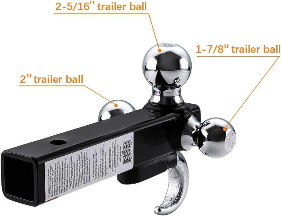 Black /& Chrome TOPSKY TS2011 Trailer Hitch Tri Ball Mount with Hook Hollow Shank Tow Hitch 2 Inch Receiver