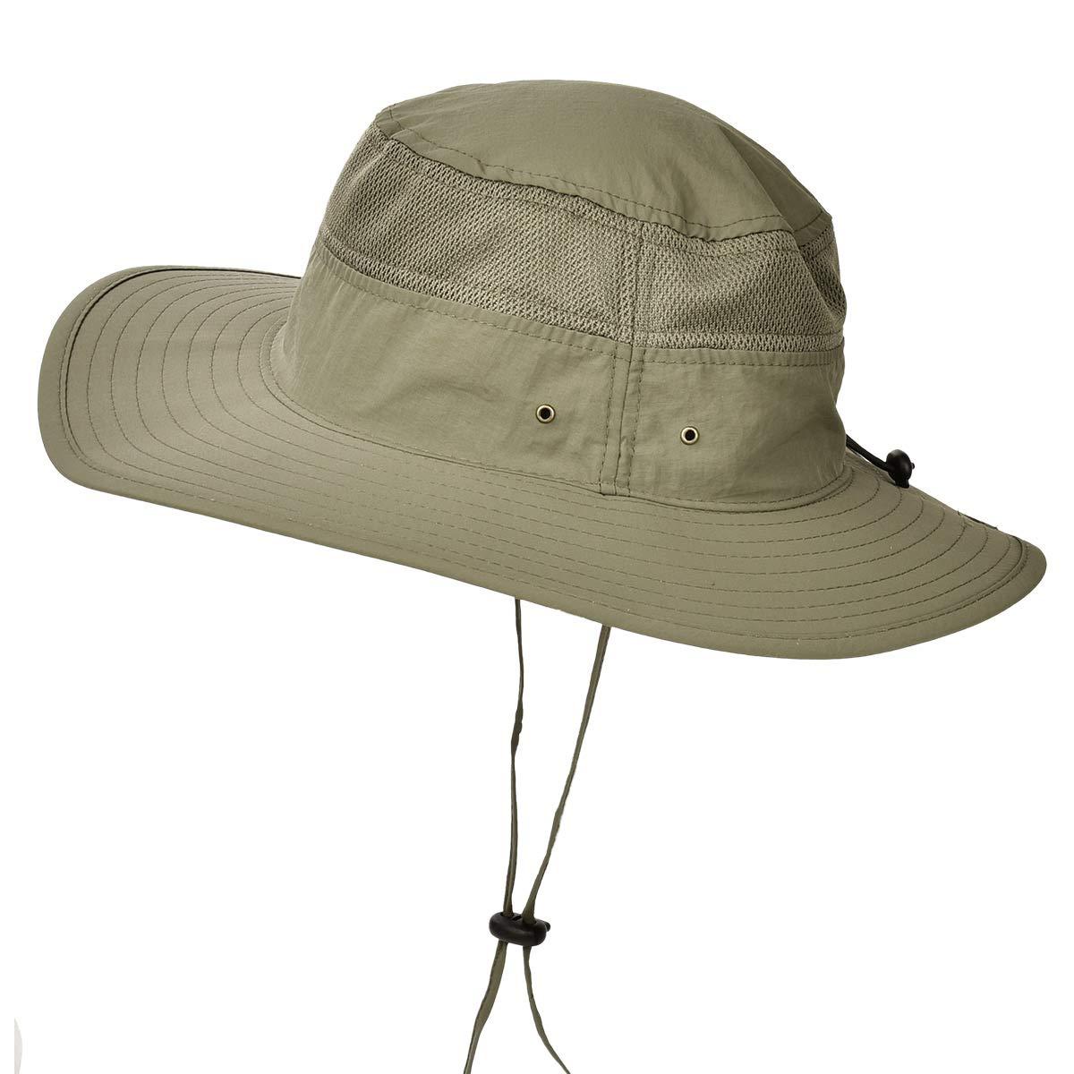 291bff8235fba ENJOYFUR Men Women Unisex Sun Hats Outdoor Wide Large Brim Fishing hat Mesh  Bucket UV UPF 50+ Protection Quick Dry Army Green at Amazon Men s Clothing  store ...