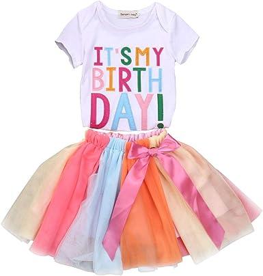 Kids Girls Birthday Dress Set T-Shirt Top+Tutu Tulle Skirt Summer.Outfit Clothes