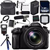 Panasonic Lumix DMC-FZ2500 Digital Camera (International Model) + Lithium Ion Battery + Charger + LED Light + 128GB SDXC Class 10 Memory Card + Tripod + Memory Card Wallet + Condenser Mic Bundle