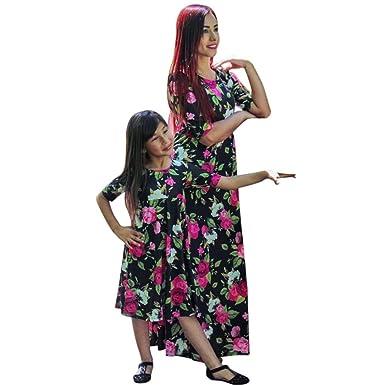 479c0c8ae67 Sunward Women s Summer Mom And Me Floral Print Dress Short Sleeve Empire  Flower Dresses L2(