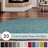 iCustomRug Cozy and Super Soft Plush Solid Shag Rug Ideal to Enhance Your Living Room and Bedroom Decor in 13 Colors / 20 Custom Sizes 6' Diameter Turquoise/Aqua Blue Round Area Rug