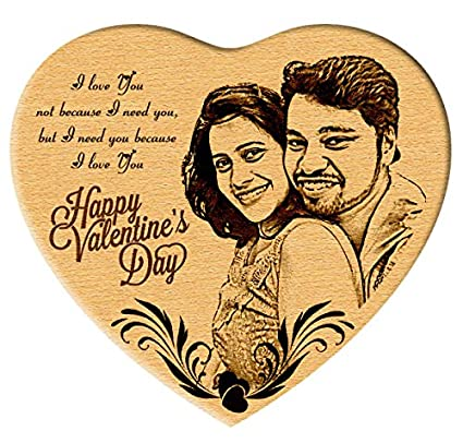 Incredible Gifts India Heart Shaped Special Engraved Photo On Wood