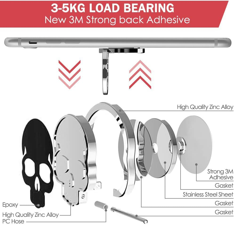 Samsung Galaxy LG IHUIXINHE 360/° Adjustable Ring Grip Kickstand for iPhone X 8 7P 6 6s Plus Sony Skull 2PCS Cell Phone Finger Ring Holder Huawei Fit for Magnetic Car Mount