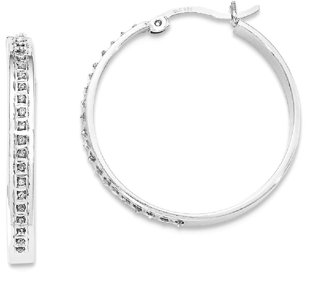 ICE CARATS 925 Sterling Silver Diamond Mystique Round Hoop Earrings Ear Hoops Set Fine Jewelry Gift For Women Heart