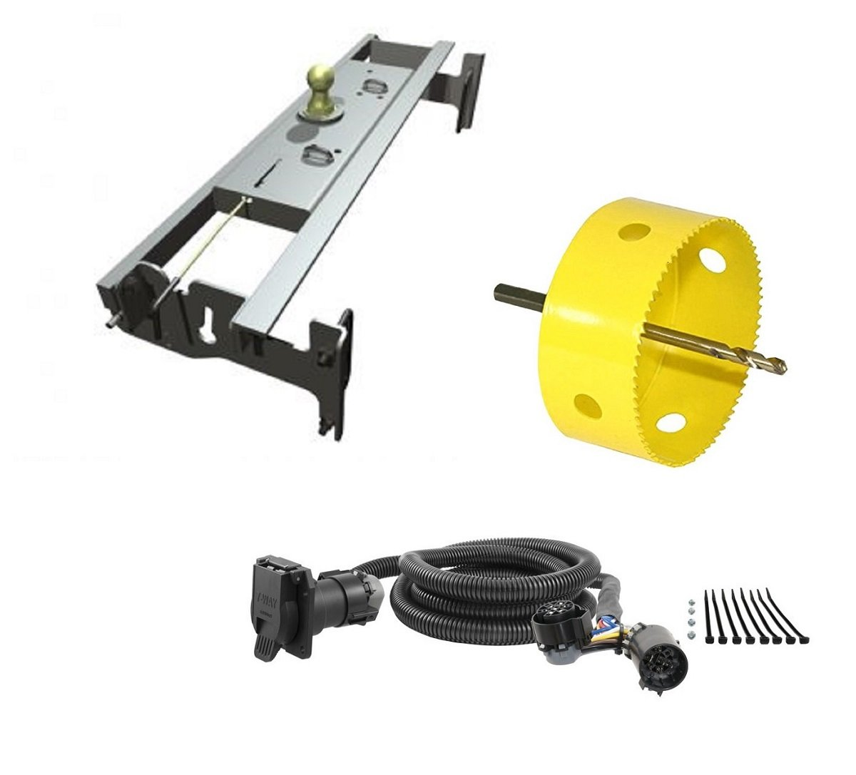 B&W Hitches GNRK1313 Turnoverball Gooseneck Hitch Kit w/ 4'' Hole Saw Drill Bit & 7' Wiring Harness Extension for Dodge Trucks