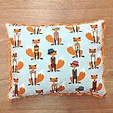 Travel Memory Foam Pillow- Foxes with Hats/Orange Plush