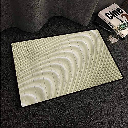 (HCCJLCKS Outdoor Door mat Modern Futuristic Wavy Spherical Disc Band Lines Expanding Drop Like Minimalist Art Print Non-Slip Door mat pad Machine can be Washed W16 xL24 Eggshell)