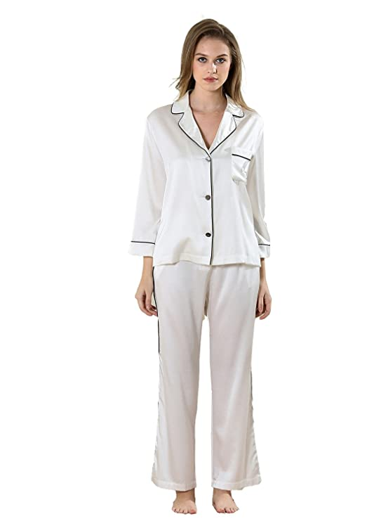 Vividmoo Womens 19 Momme Satin 100% Mulberry Silk Wide Leg Bottomb Piping Trims Pajama Set at Amazon Womens Clothing store: