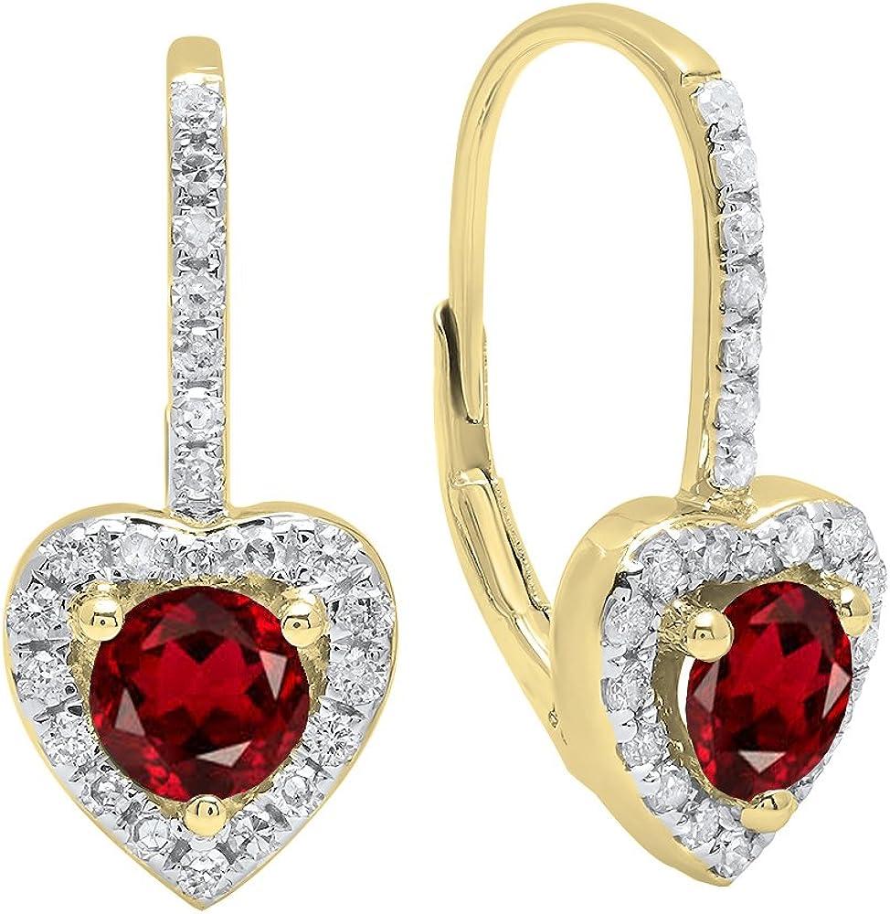 Pendientes de oro amarillo de 18 quilates, cada 5 mm, redondos, con piedras preciosas y diamantes blancos, diseño de corazón, estilo halo