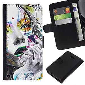 JackGot ( Cara Chica colorido ) Sony Xperia M2 la tarjeta de Crédito Slots PU Funda de cuero Monedero caso cubierta de piel