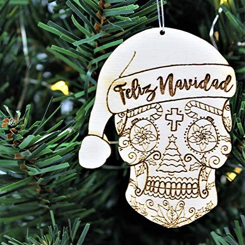 Feliz Navidad Sugar Skull Christmas Ornament