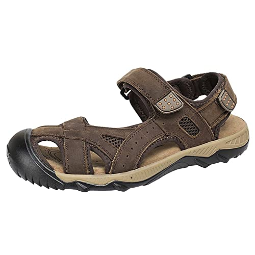 3b4a6eea31331 rismart Men's Closed Toe Summer Hook&Loop Outdoor Hiking Leather Sandals  Shoes