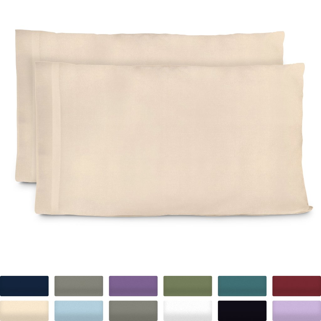 Cosy House Collection Premium Bamboo Pillowcases - Standard, Cream Pillow Case Set - Ultra Soft & Cool Hypoallergenic Blend From Natural Bamboo Fiber